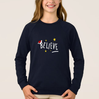 Christmas Night Believe Santa Raglan Sweatshirt