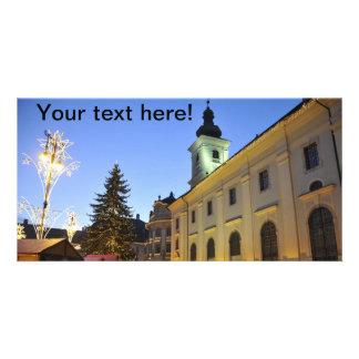 Christmas night in Sibiu, Romania Personalized Photo Card