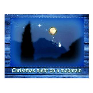 Christmas night on a mountain postcard