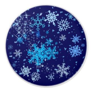 Christmas Night Snowfall Ceramic Knob