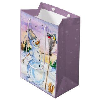 Christmas night snowman birds watercolor medium gift bag