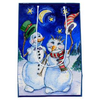 Christmas night snowmen watercolor medium gift bag