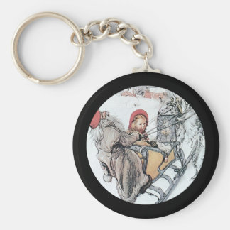 Christmas Nisse and Kersti on Sleigh Ride Basic Round Button Key Ring