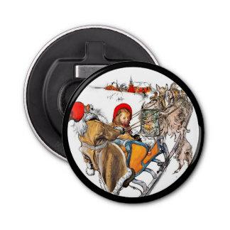 Christmas Nisse and Kersti on Sleigh Ride Bottle Opener