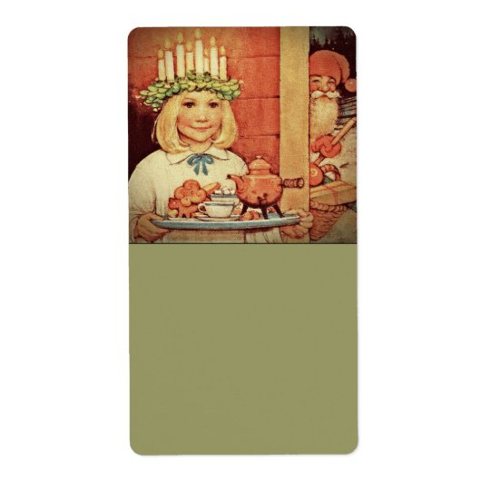 Christmas Nisse and Lucia Day Karin Shipping Label