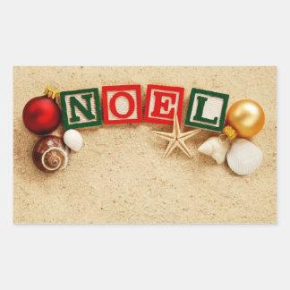 Christmas Noel at the Beach Rectangular Sticker