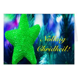 Christmas Nollaig Chridheil Green Star I Greeting Card