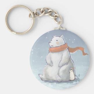 Christmas North Pole Cute Polar Bear and Penguin Key Ring
