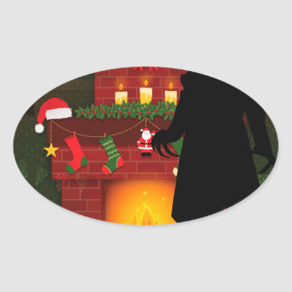 christmas nosferatu oval sticker