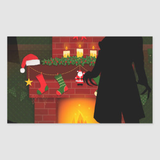 christmas nosferatu rectangular sticker