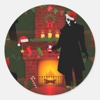 christmas nosferatu round sticker
