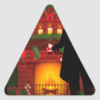 christmas nosferatu triangle sticker