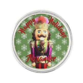 Christmas Nutcracker with Snowflakes Lapel Pin