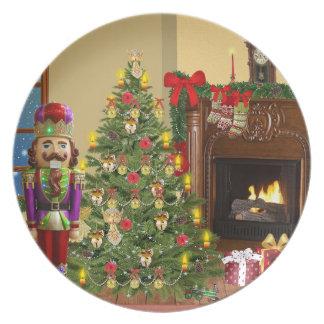 Christmas nutracker hearth scene serving plate