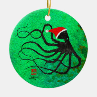 Christmas Octopus 2 - Circle Ornament