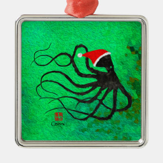 Christmas Octopus 2 - Premium Square Ornament