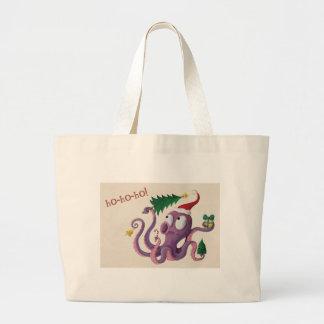Christmas Octopus Canvas Bag