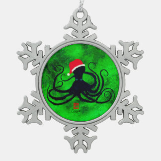 Christmas Octopus Snowflake Pewter Christmas Ornament