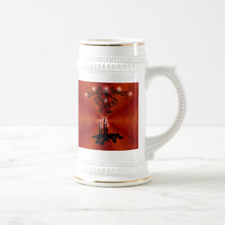 Christmas of ornamentations with stars on red beer stein