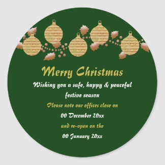 Christmas office premises closed from to peace classic round sticker