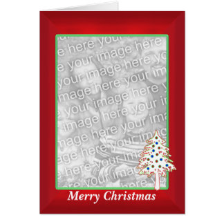 Christmas on Red (tall photo frame) Card