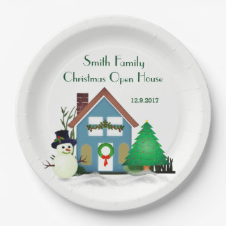 Christmas Open House Paper Plates 9""