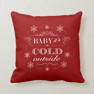 Christmas or Apres-Ski Red and White Snowflakes Cushion