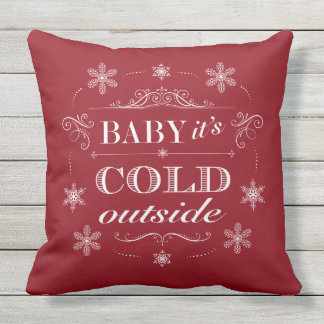 Christmas or Apres-Ski Red and White Snowflakes Outdoor Cushion