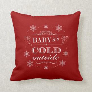 Christmas or Apres-Ski Red and White Snowflakes Throw Pillow