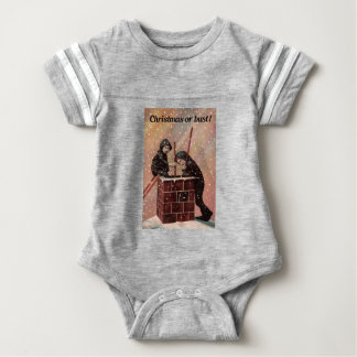 Christmas Or Bust, Boy Chimney Sweep Antique Photo Baby Bodysuit
