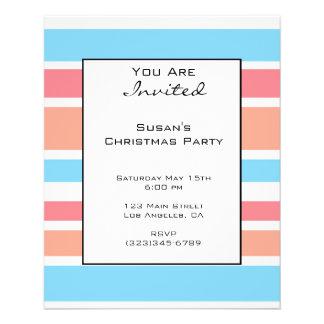 Christmas Orange Blue Stripes Personalized Flyer