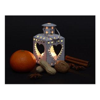 Christmas orange lantern chestnuts cinnamon sticks postcard