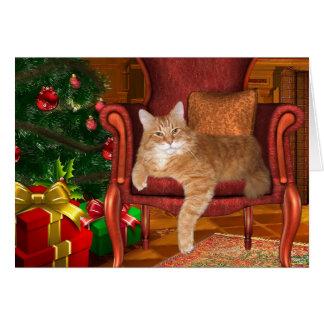 Christmas orange tabby card