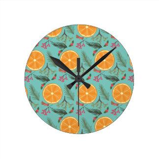 Christmas Orange Wreath Print Blue Clocks