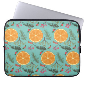 Christmas Orange Wreath Print Blue Laptop Sleeve