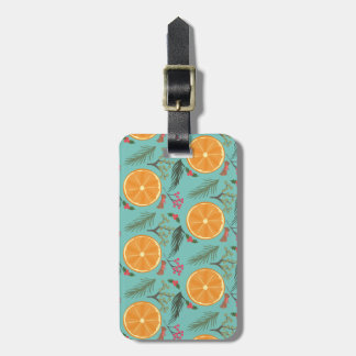 Christmas Orange Wreath Print Blue Luggage Tag