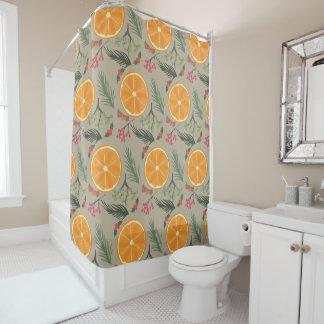 Christmas Orange Wreath Print Shower Curtain