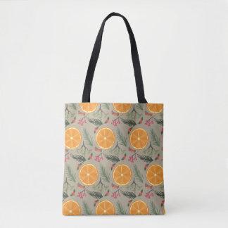 Christmas Orange Wreath Print Tote Bag