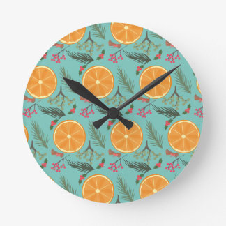 Christmas Orange Wreath Turquoise Clocks
