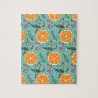 Christmas Orange Wreath Turquoise Jigsaw Puzzle