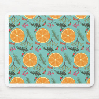 Christmas Orange Wreath Turquoise Mouse Pad
