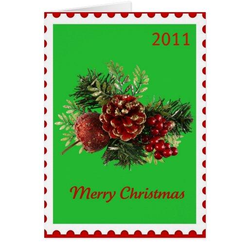 Christmas Original Poetry Stamp 2011 Green Greeting Card