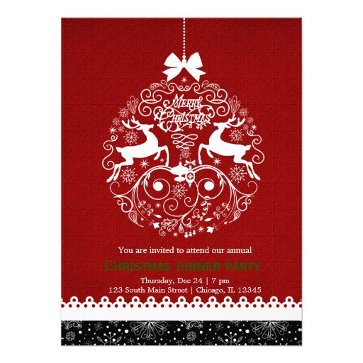Christmas Ornament Personalized Invites