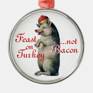Christmas Ornament, Pig King, No Bacon Silver-Colored Round Decoration