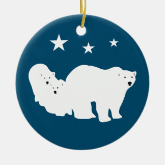 Christmas Ornament Polar Bears White and Blue