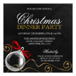 Christmas Ornament Red Bow Dinner Party Personalized Announcement