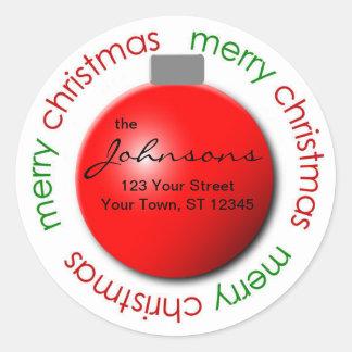 Christmas ornament return address label sticker