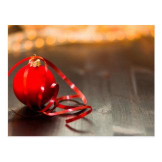 Christmas ornament ribbon postcard