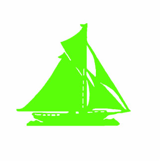 Christmas Ornament Sailboat Green Acrylic Cut Out
