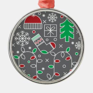 CHRISTMAS ORNAMENT.  SNOWFLAKES AND CHRISTMAS TREE METAL ORNAMENT